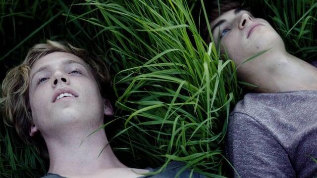 Zwei Jungs liegen im Gras.