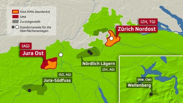 Karte mit Endlager-Standorten.