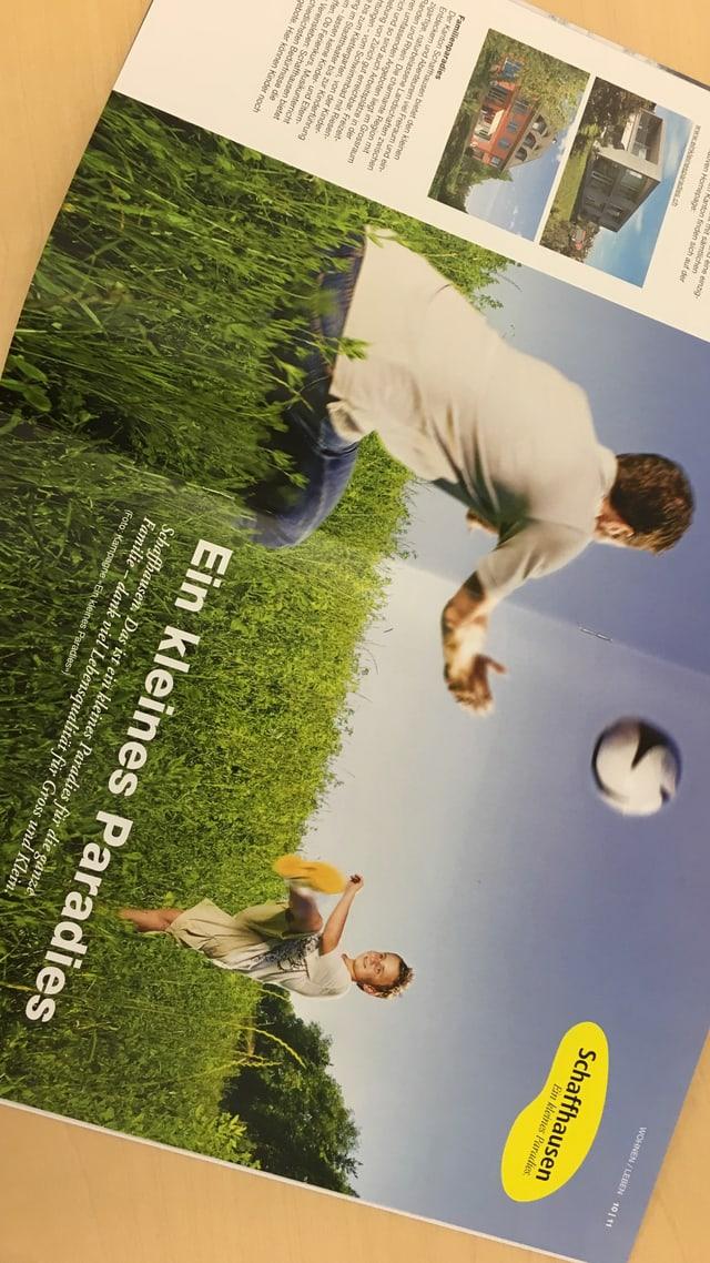 Ausschnitt aus einem Schaffhauser Magazin mit einer alten Werbung für das kleine Paradies.