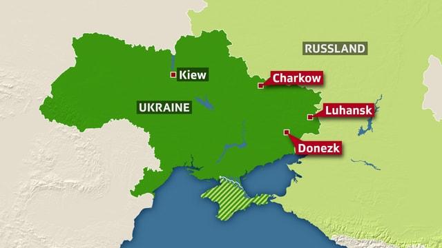 Karte der Ukraine, welche die drei Städte Charkow, Luhansk und Donezk im Osten der Ukraine erwähnt.
