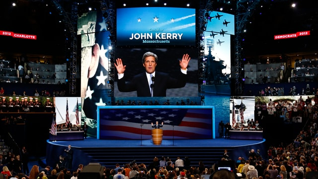 John Kerry bei eine Wahlkampfveranstaltung im Jahr 2004.