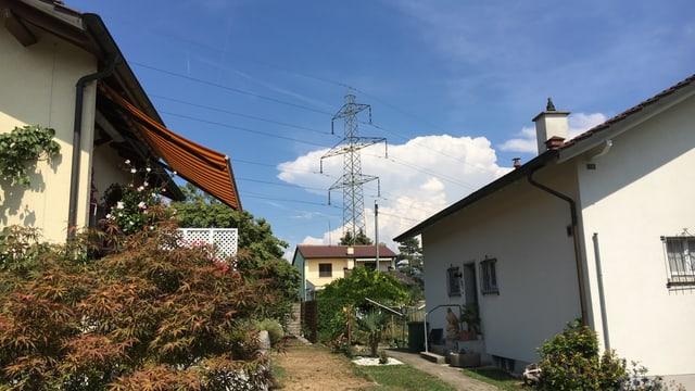 Stromleitungen und Häuser
