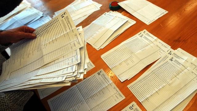 Ein Hand hält verschiedene Wahllisten, auf dem Tisch liegen andere bereits sortiert.