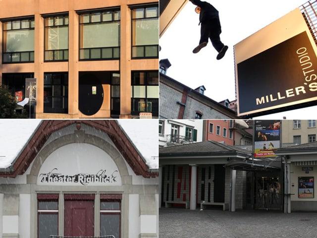 Die Fassaden der vier Theater.