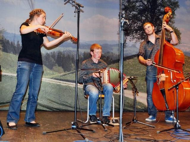 Eine Violinistin, ein Schwyzerörgeler und ein Kontrabassist während eines Auftritts auf der Bühne.