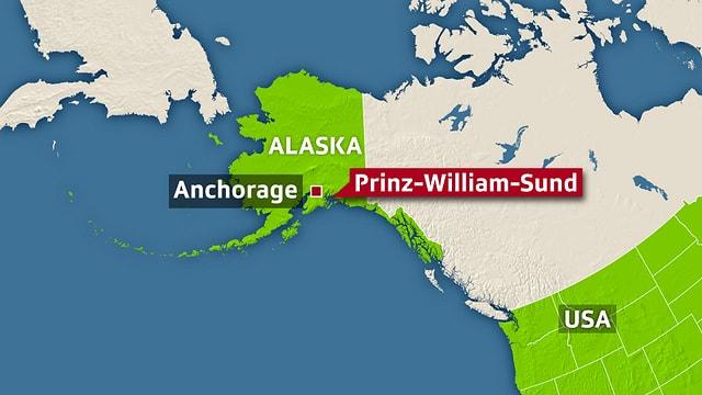 Landkarte mit Alaska, Kanada und USA