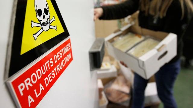 «Produkte zur Vernichtung» steht auf diesem Schild bei einem französischen Grosshändler in Villeneuve.