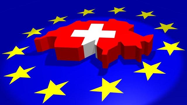 Landkarte Schweiz  auf blauem EU-Untergrund mit Sternen