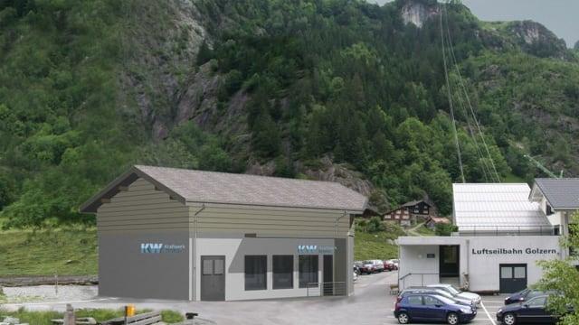 Talstation der Seilbahn Bristen-Golzern.
