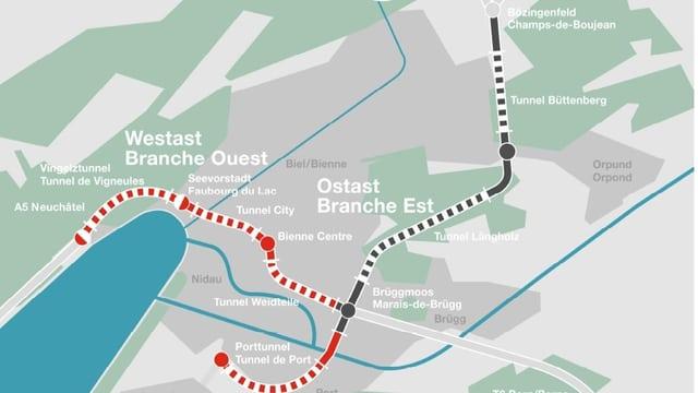 Grafik von Westast und Ostast in Biel.
