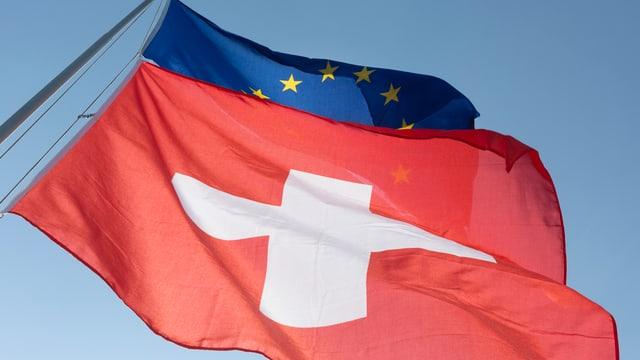 Schweizer Fahne über Europa Fahne