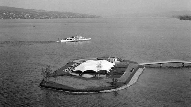 Die Saffa-Insel anno 1958 aus der Vogelperspektive