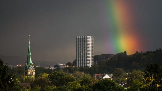 Kräftiger Regenbogen über der Stadt Winterthur
