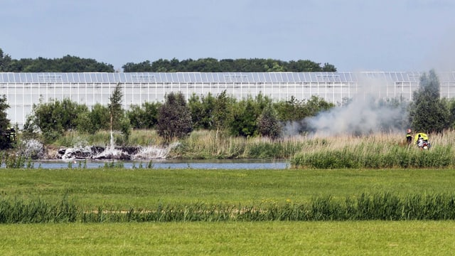 In diesen Teich stürzte die F-5-Maschine der Patrouille Suisse