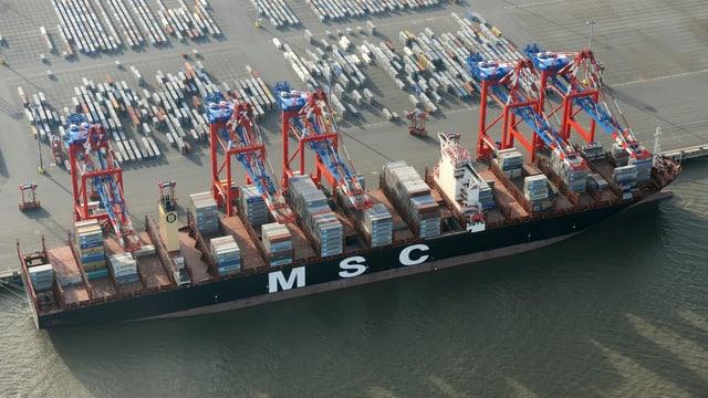 Die «MSC Oscar», hier in in Wilhelmshaven (Niedersachsen) festgemacht, ist das weltgrösste Containerschiff.