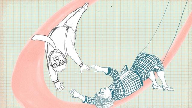 Zeichnung: Lotti Dürrenmatt hängt an einem Seil und wirft Friedrich durch die Luft