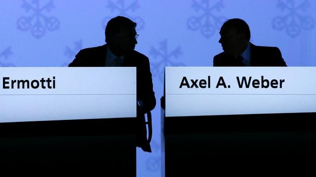 Konzernchef Ermotti und Verwaltungsratspräsident Weber an der UBS-Generalversammlung