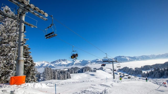 Sesselifte in winterlicher Berglandschaft.