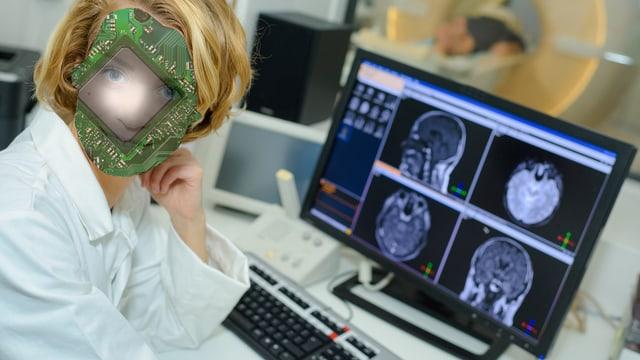 Ein Bildschirm mit Scans eines omputertomographen, davor eine Ärztin, die die Bilder analysiert, wobei ihr Kopf mit einem Computerchip vermischt ist.