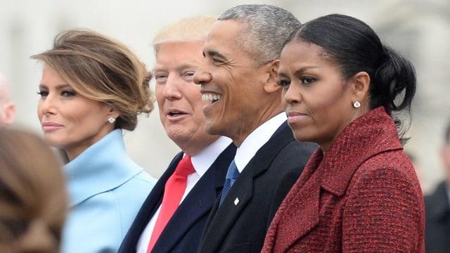 Obamas und Trumps bei Inauguration 2016.