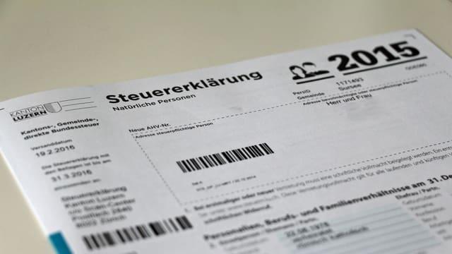 Steuererklärung im Kanton Luzern.