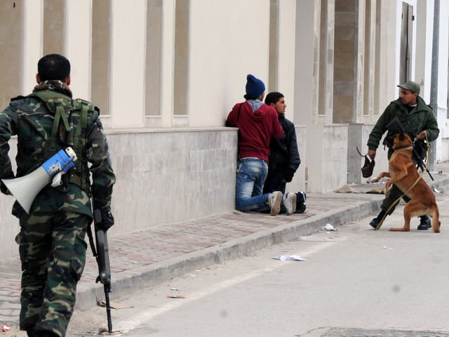 Soldaten nehmen Demonstranten fest (2011 in Tunis)
