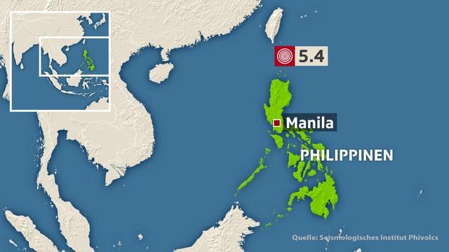 Karte Philippinen mit dem ersten Erdbeben