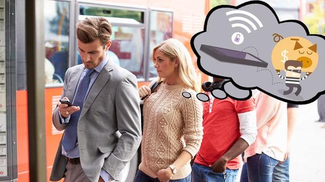 Personen stehen in einer Schlage, ein adretter Herr blickt auf sein Handy, die Dame hinter ihm denkt über digitalen Taschendiebstahl nach.
