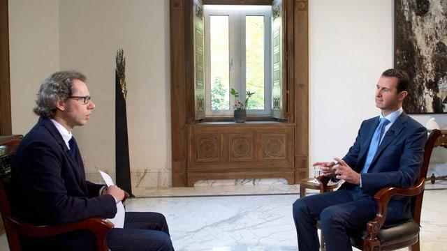 Il president da la Siria, Baschar al-Assad, durant l'intervista cun la RAI.