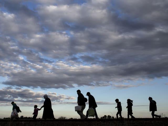 Flüchtlinge auf der Balkanroute, 2015 vor der ungarischen Grenze