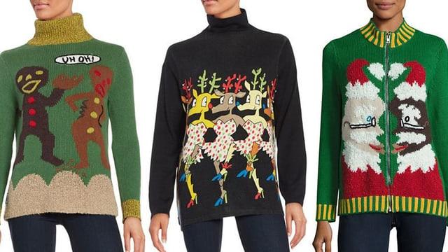 Drei Pullover - grün, schwarz, grün. Mit Weihnachtsmotiven.