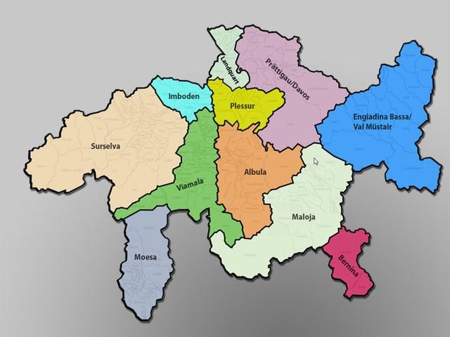 Karte mit den elf Regionen im Kanton Graubünden.