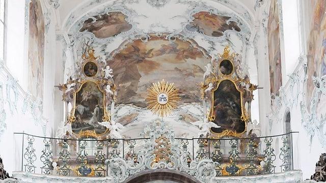 Innenaufnahme der Decke in der Kirche der Kartause Ittingen