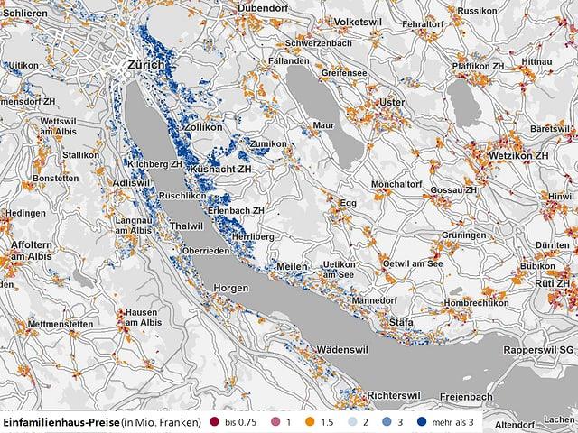 In der Stadt Zürich und an den beiden Seeufern gibt es viele teure Häuser.