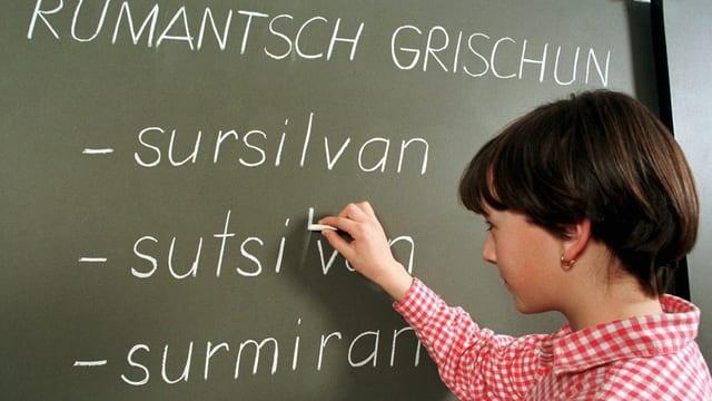 Mädchen schreibt an Wandtafel
