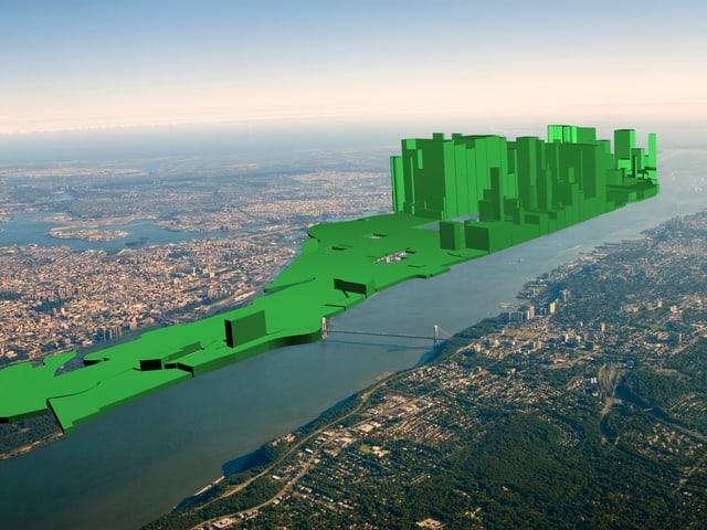 Eine digitale Skyline über Manhattan, New York, zeigt in grüner Farbe an, wie ungleich der Wohlstand in der jeweiligen Region verteilt ist.