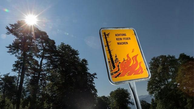 Schild macht aufmerksam auf Waldbrandgefahr