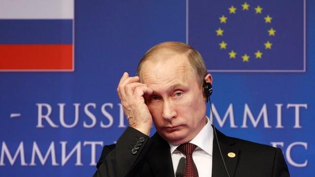 Wladimir Putin spricht am Ende eines Russland-EU Gipfels in Brüssel am 28.1.2014