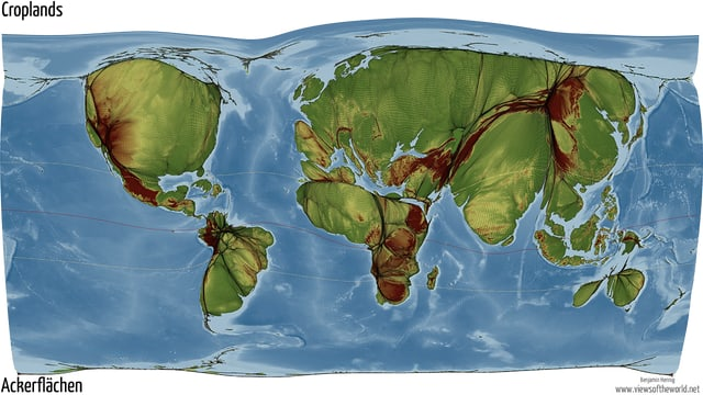Die Weltkarte zeigt den Anteil der Ackerflächen in den jeweiligen Regionen.