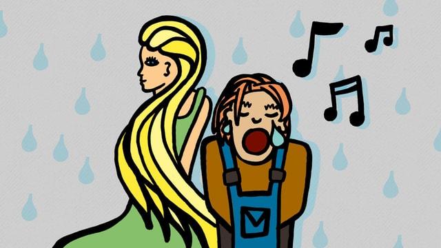 Cartoon: Ein Mann singt mit geschlossenen Augen und Tränen in den Augenwinkeln, daneben eine blone Frau, im Hintergrund regnet es Tränen.