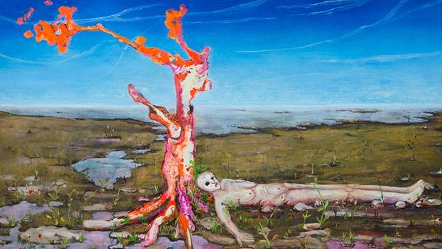 Malerei: Nackter Mensch am Boden neben einem Baum in karger Landschaft.