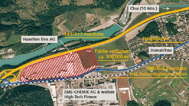 Plan da l'areal da l'anteriura resgia gronda a Domat