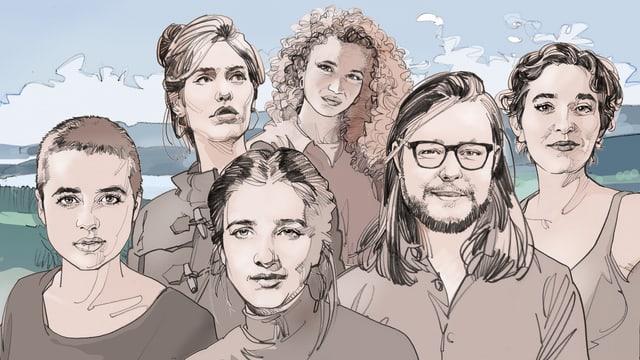 Porträts von sechs jungen Menschen