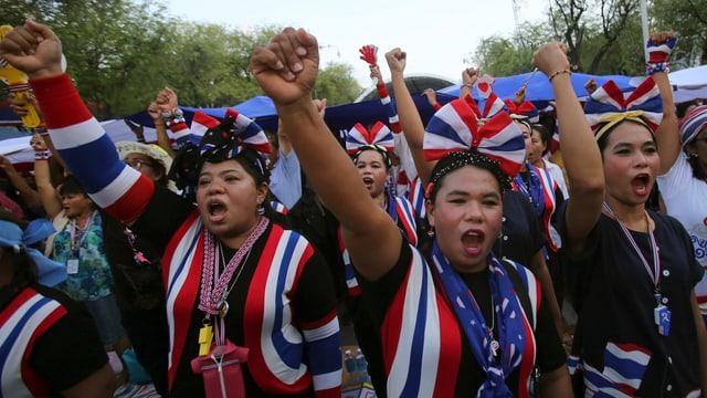 Anti-Regierungs-Demonstranten in thailändischen Farben recken Fäuste in den Himmel