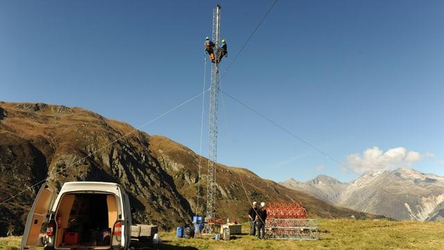Las installaziuns per mesirar il vent en Val Nalps/Tujetsch.