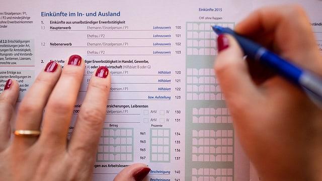Aufnahme von Frauenhänden, die eine Steuererklärung ausfüllen.