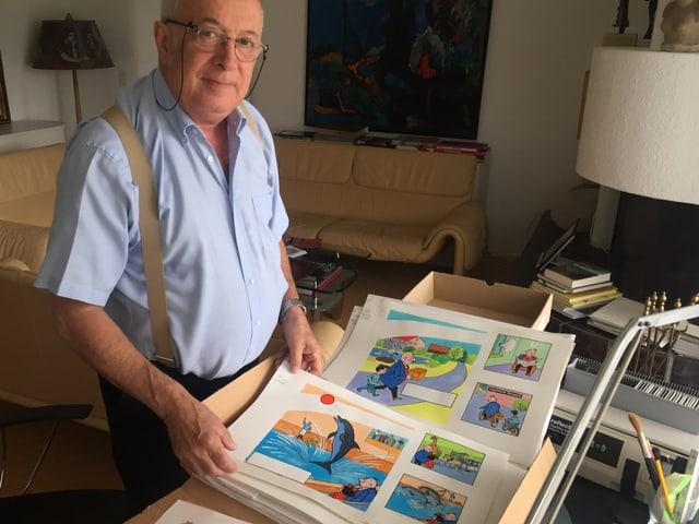 Roy Oppenheim zeigt Originale von Papa Moll.