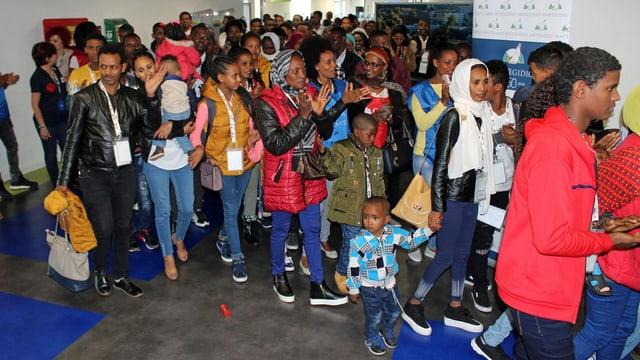 Ankunft von Eritreern und Äthiopiern in Rom.