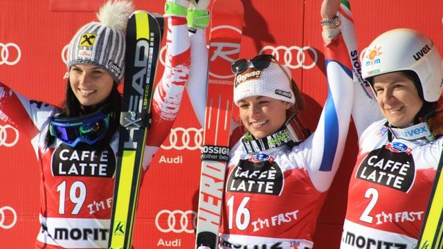 Lara Gut bewann vor der Österreicherin Fenninger und der Ungarin Miklos.