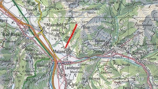 Karte mit rotem Strich